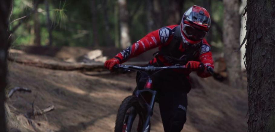 Kilian Bron rides his mountain bike in Oahu