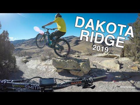 Nate Hills riding Dakota Ridge south on his mountain bike.