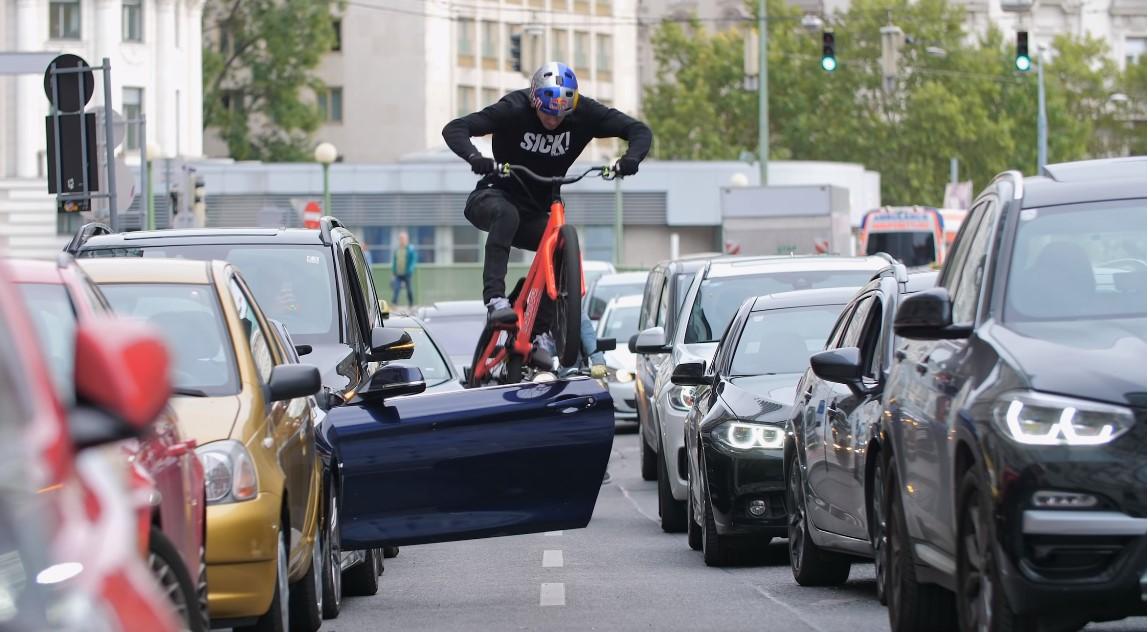 Watch Fabio Wibmer the king of Austria bike Trials ride trials on the streets of Austria.