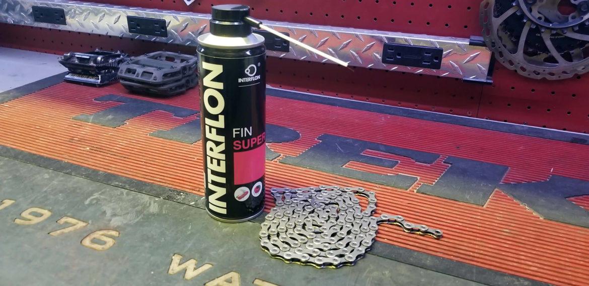 Interflon Fin Super Chain Lubricant. This lubricant is great for bicycle chains and other uses.